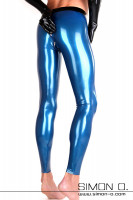 Preview: Blue latex leggings with zipper in the anal area and black waistband seen from behind