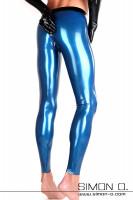 Vorschau: Blaue Latex Leggings mit Zipp im Analbereich und schwarzem Bund von hinten gesehen