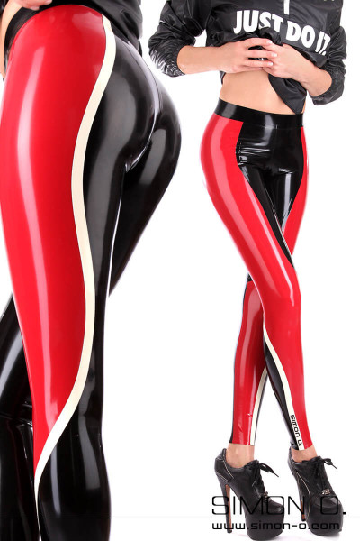 Sportive Latex Leggings with contrasting colour insert The trim colour insert begins in the back, passing the sides, runing down upfront and over the knee …
