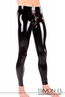 Preview: Wet look latex leggings with red zipper in the crotch. Tight fit with anatomically shaped crotch for men.