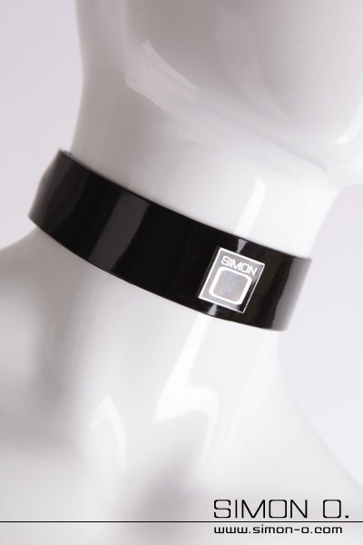 Latex collar with chrome Simon O. logo which is cast with resin enamel and polished to a high gloss