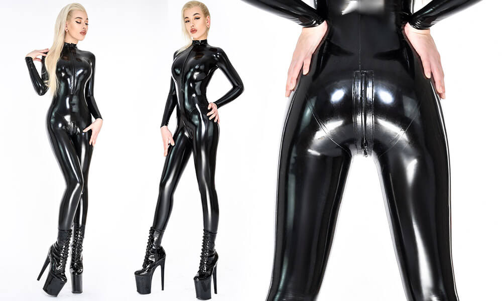 Damen Latex Catsuit in Schwarz