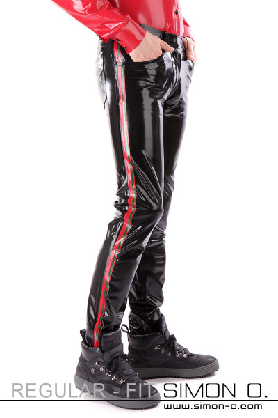 Regular Fit - Men's latex jeans with pockets These latex trousers will conform to your body in every line. Available in many colours. With the …