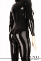 Preview: A skintight latex catsuit in black with silicone breasts