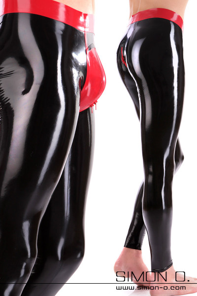 Genital Push Up Latex Leggings seen from front and back