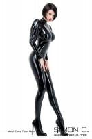 Vorschau: Eleganter eng anliegender Latex Catsuit in Schwarz mit Puffärmel