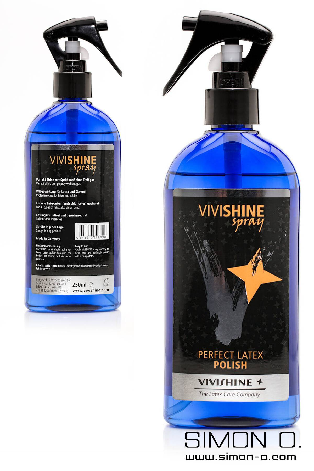 Latex Shine Spray by Vivishine for Latex Clothing in a blue bottle with black Spray head