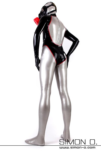 Elaborately crafted latex catsuit for men with zip through the crotch. Glossy in three-colored design