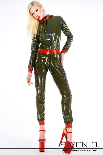 Latex overall with pockets in olive green with red and badge in gold with black