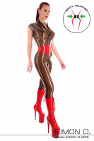 Preview: Latex bodysuit with zip in front in black transparent with red waist belt seen from the front