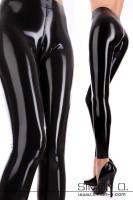 Vorschau: Schwarze Latex Leggings für Damen mit Cameltoe Effekt und eng anliegender Passform