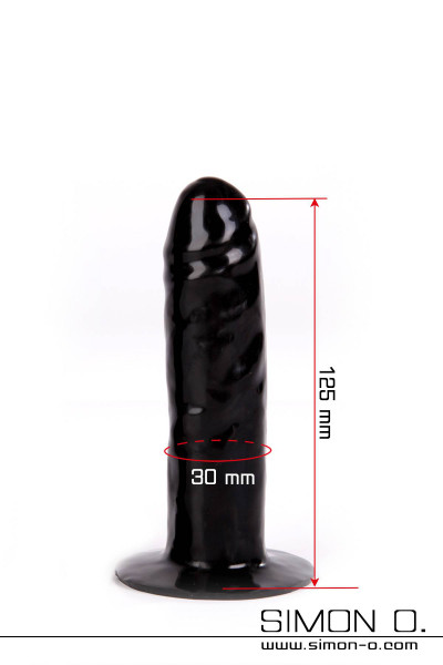 Latex dildo with solid core for gluing into latex clothes