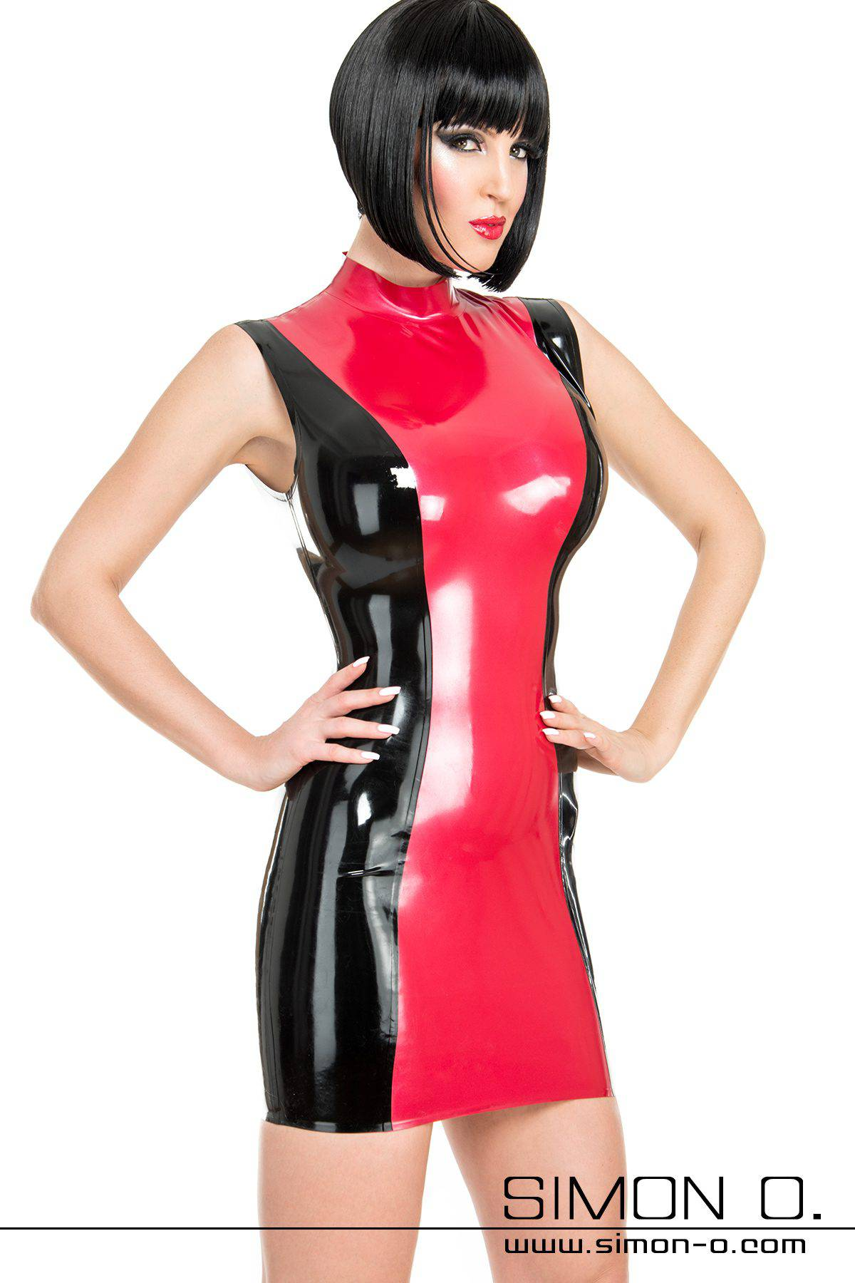 Skin tight latex mini dress in red with black front view