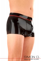 Vorschau: Glänzende Herren Latex Unterhose in Schwarz mit Zipp im Schritt