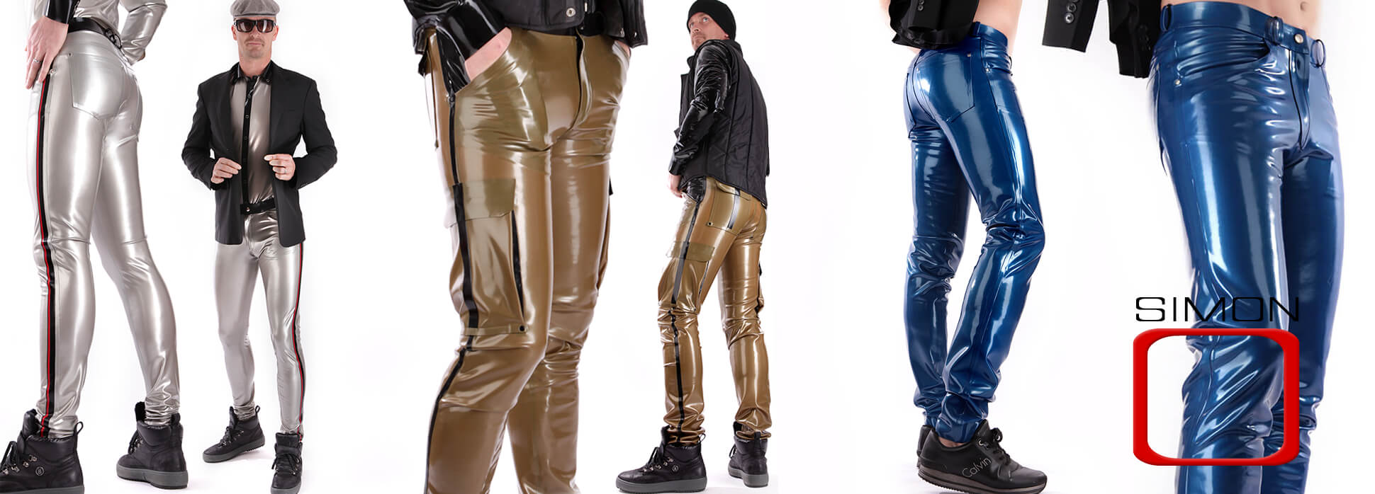 Latex Pants for men in black silver blue. Glossy surface from skin tight slim fit to Cargo Style