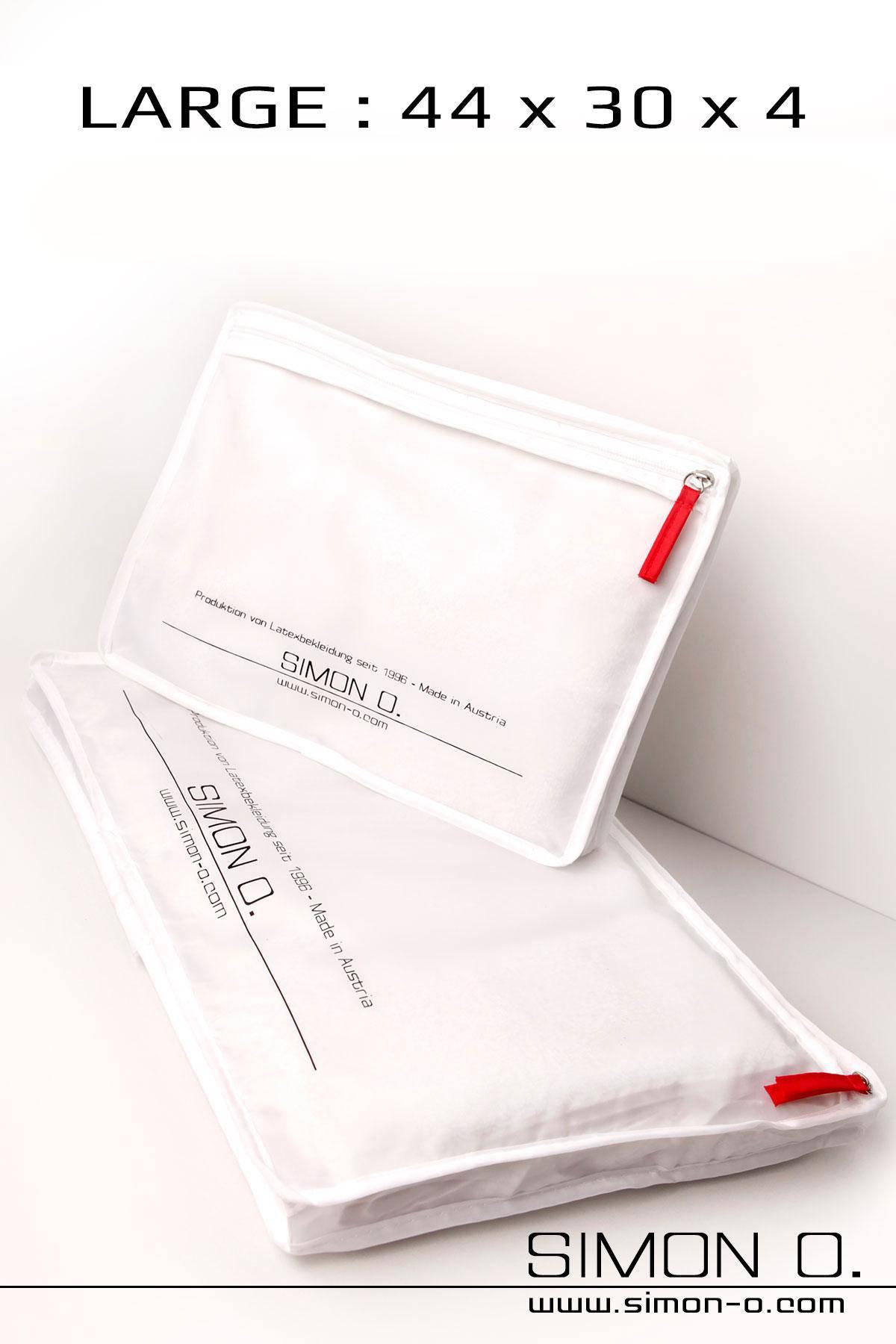 Großer weißer Simon O. Aufbewahrungsbeutel mit Zipp und Logo Aufdruck
