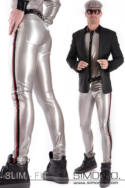 Men's latex jeans with pockets These latex trousers will conform to your body in every line. Available in many colours. With the contrasting colour, you …