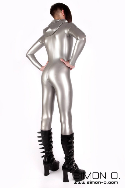 Latex suit with hood in silver with skintight fit seen from behind