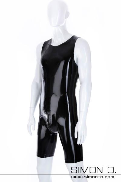Schwarzer Latex Surfsuit mit Rundausschnitt und Zipp im Schritt