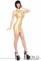 Vorschau: Eine Frau trägt ein eng anliegendes goldenes Latex Minikleid in wet look Optik