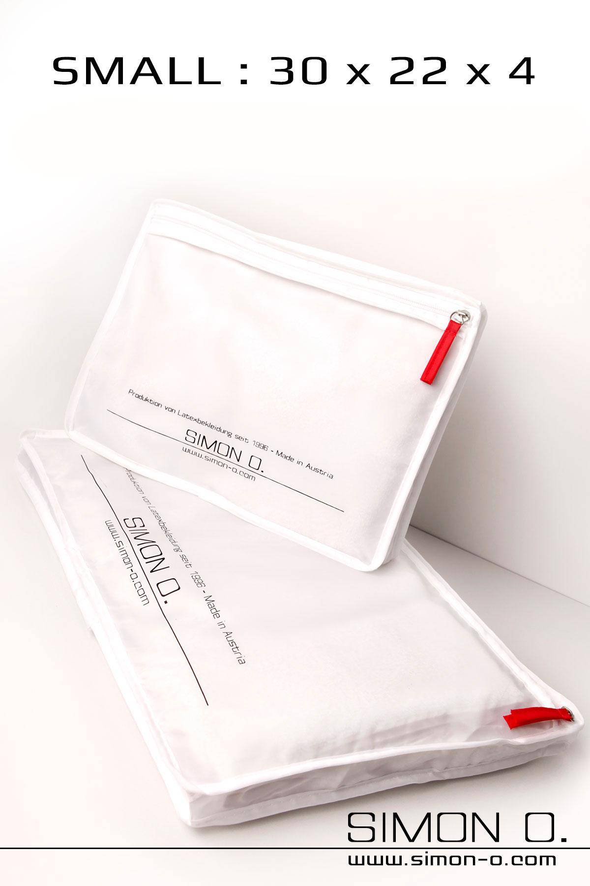 Simon O. Storage bag for latex clothing with zip and printed logo