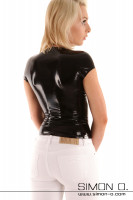 Vorschau: Eine blonde Frau trägt ein hautenges Latex Top mit Rundausschnitt in Schwarz von hinten gesehen