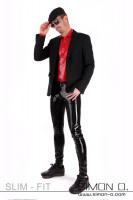 Preview: A gentleman with a jacket and a shiny black latex jean and a red latex shirt