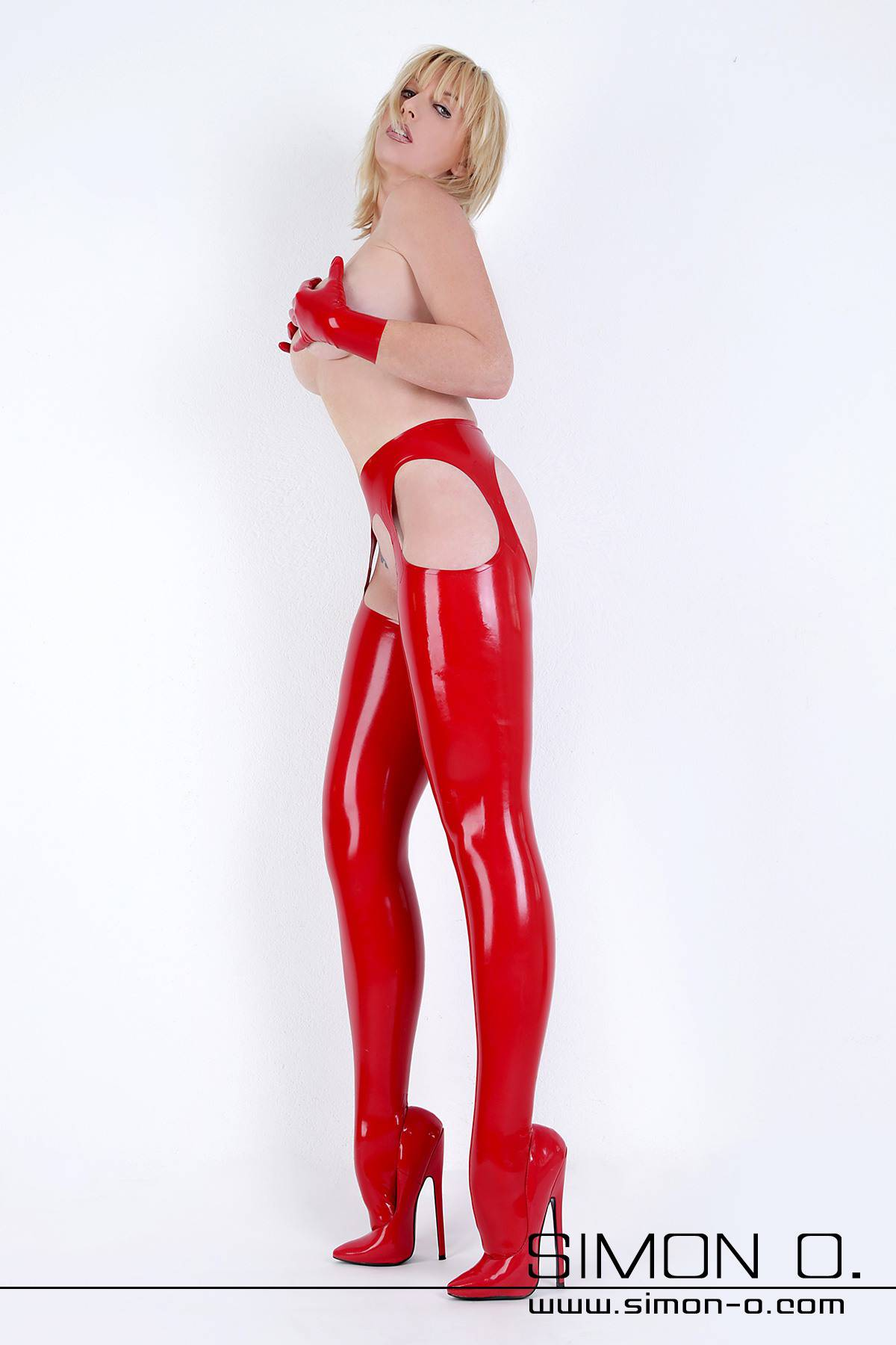 Latex stockings with built in suspenders Latex stockings with cut away sections which give the appearance of built in suspenders. This leaves the crotch and …