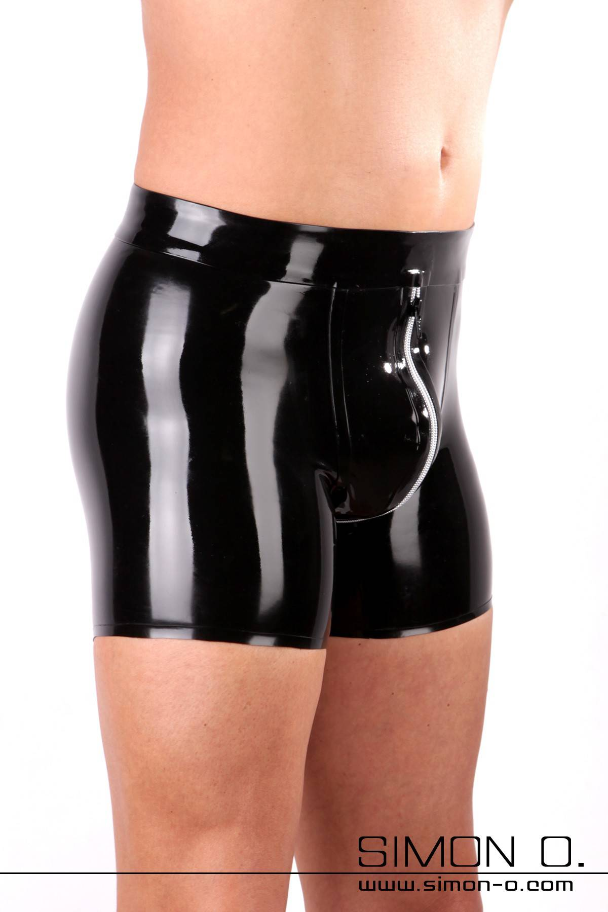 Men's Latex Shorts with Zipper in Silver Men's latex shorts with longer leg attachment for even more latex feel and wear comfort. Sophisticated cut with …