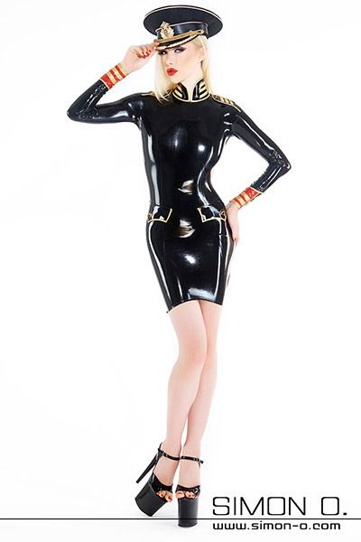 Uniform latex dress for women in military style