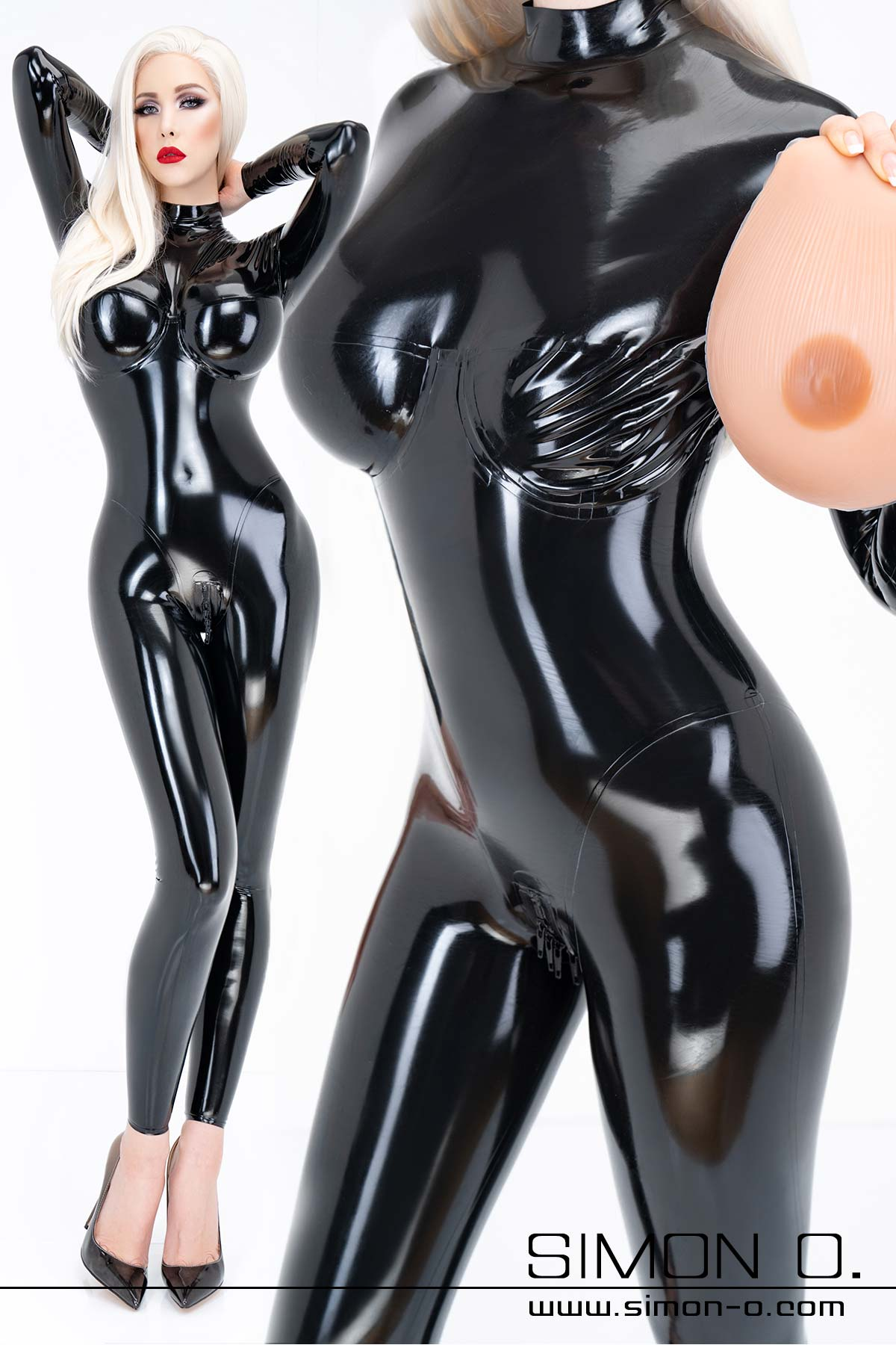 Big Boobs Latex Catsuit für Silikonbrusteinlagen in gläzenden schwarzen Latex