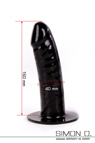 Medium sized latex dildo in black to glue into latex clothes