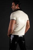 Vorschau: Latex Polo Shirt mit Viertelarm im 3 farbigen Design Das ansprechende 3 farbige Design hier mit einem transparenten Einsatz macht dieses Latex Shirt zu einem …