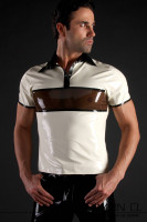 Preview: Latex polo shirt with quarter sleeves in 3 color design The attractive 3-color design with a transparent panel which sits across the pecs makes this latex …