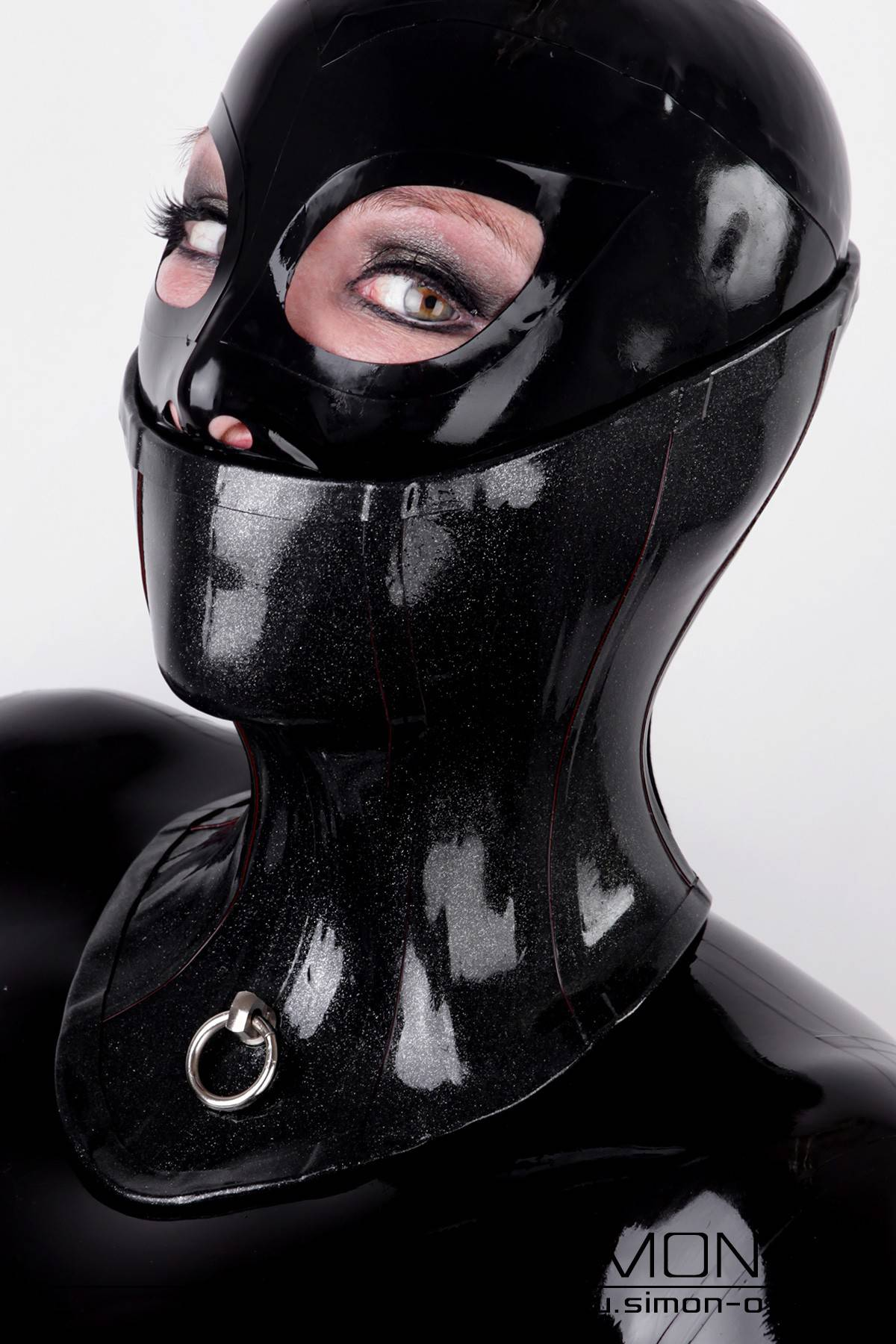 Latex Bondage Neck Corset in Black with O-Ring and Lacing