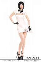 Vorschau: Elegantes Latex Minikleid in Pastell mit Swarovski Knöpfen