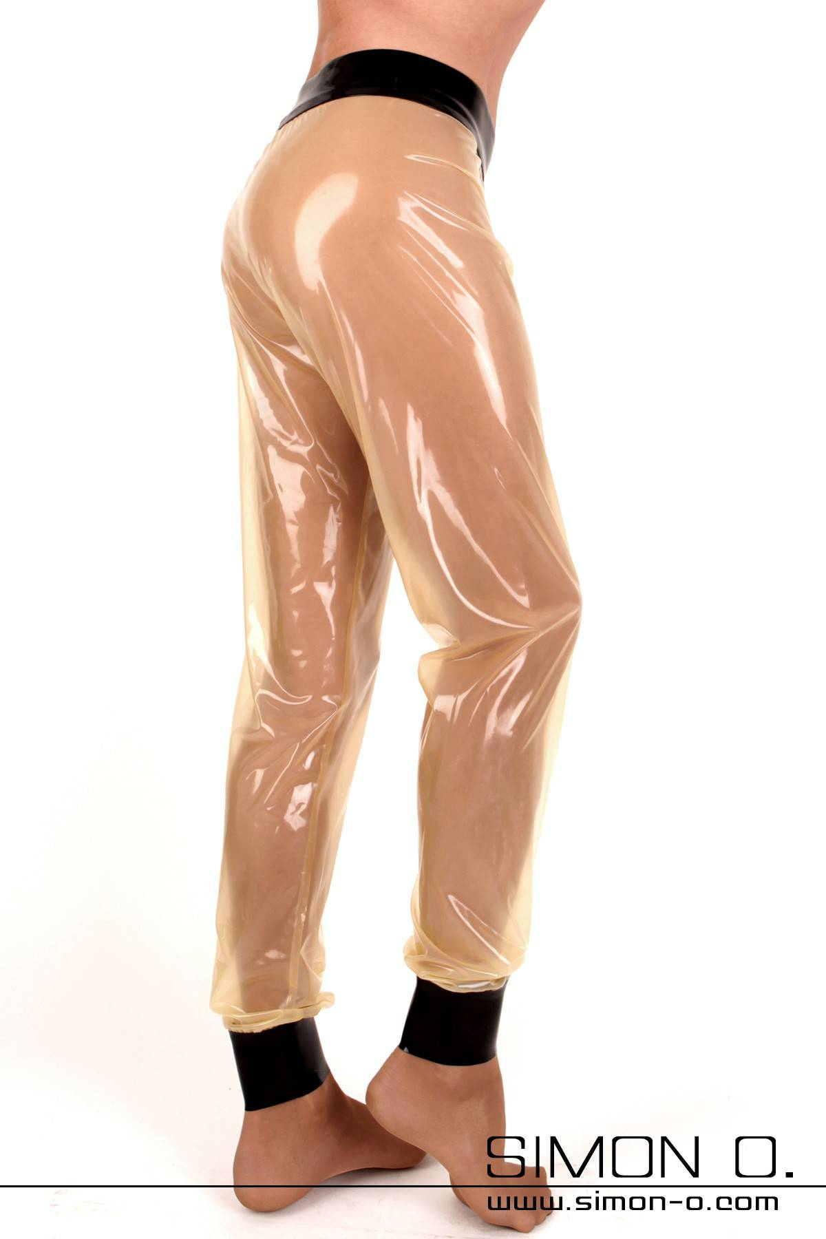 Translucent shiny latex pants with black waistband and leg cuffs
