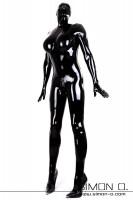 Vorschau: Rubberdoll Catsuit für Herren Gummipuppen Outfit mit integrierten Cups für Silikonbrüste
