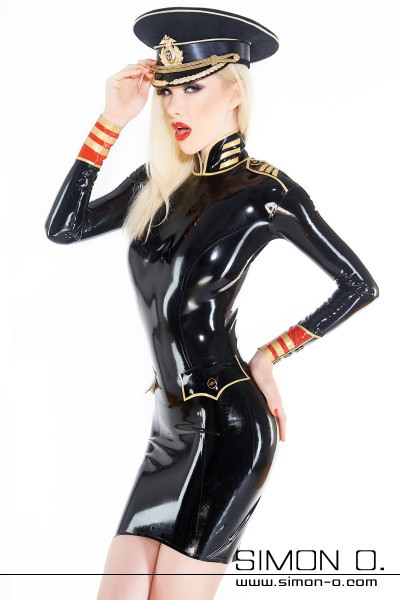Latex dress in military uniform style Skin tight latex dress with military-style pockets. This elaborately processed latex dress is made of 0.4 mm latex. The …