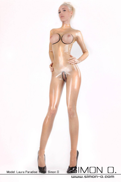 Blonde woman in a tight transparent latex catsuit The chest area and crotch area is open and bordered with black
