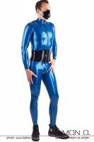 Vorschau: Ein Mann trägt einem blauen Latex Anzug mit integrierten Mieder