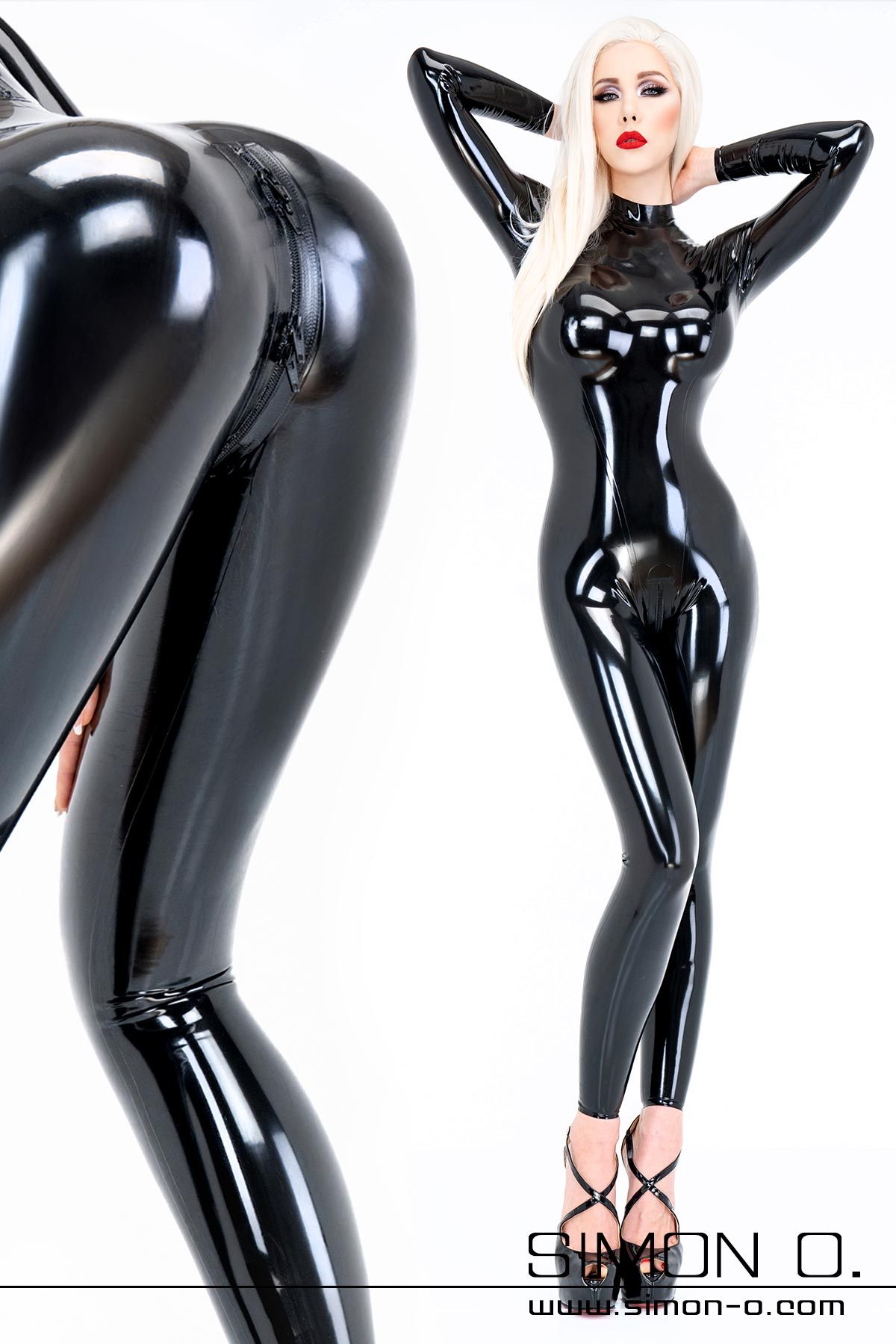 A woman wears a shiny skintight black latex catsuit with skintight fit