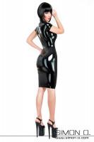 Vorschau: Schwarzes Cocktailkleid aus Latex hautenge glänzend und knielang