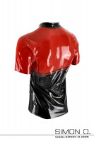 Preview: Latex Shirt Black Red with divisible zipper seen from behind