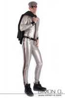 Preview: A man wears a shiny latex shirt with lapel collar in black with matching latex pants