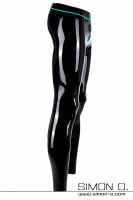 Preview: Black latex leggings with cock ring in contrasting colour jade green