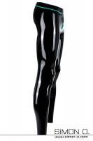Vorschau: Schwarze Latex Leggings mit Penisring in Kontrastfarbe Jadegrün