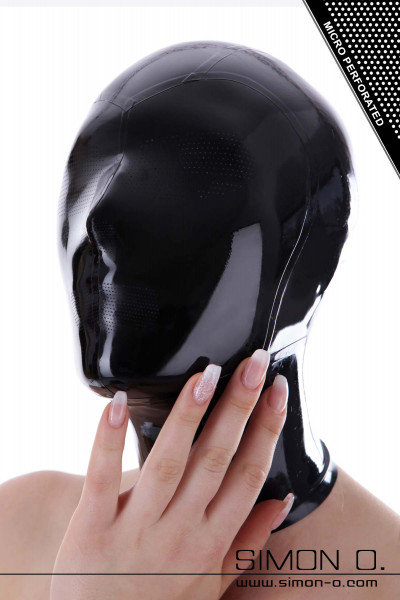 Latex hood in black with micro perforations at mouth, nose and eyes