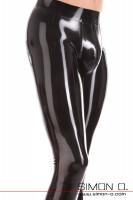 Vorschau: Detailfoto hautenge Latex Leggings für Herren mit ausgeformten Genitalbereich und Zipp im Schritt.