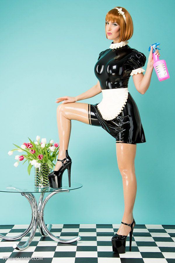 Wet Look Latex French Maid Dress with white Apron